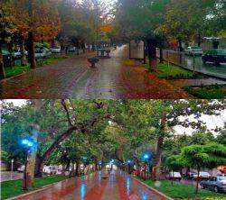 یه روز پاییزی بارانی در بلوار پارک ملایر