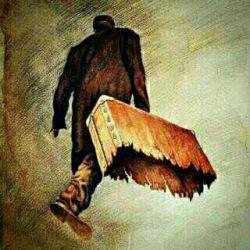 عکسی تامل برانگیز، از کوچ انسان به سوی پروردگار خویش،  میروی بی آنکه بدانی، با چمدانی از هیچ...