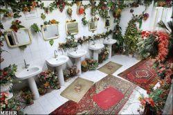 کاشی کاری و نمای سرویس بهداشتی با گل و بلبل