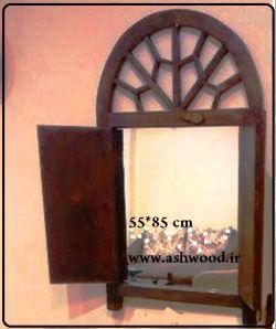 پنجره ارسی ؛ گره چینی درب قدیمی چوبی قاب آینه سنتی