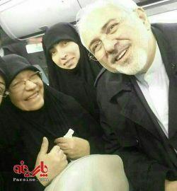 دکتر ظریف و خانواده شهید مغنیه در راه مشهد...