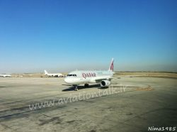 فرودگاه امام خمینی تهران ایرباس 320 قطریه در حال ورود به گیت