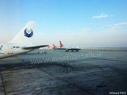 فرودگاه امام خمینی تهران 3 فروند از ناوگان ایرباس A300-600 هواپیمایی قشم ایر