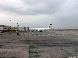 فرودگاه امام خمینی تهران هواپیمای بوئینگ 747SP یا Special Performance هواپیمایی ایران ایر