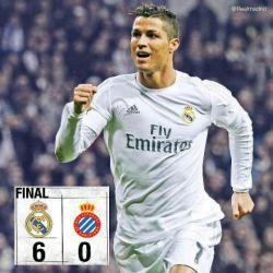 هتریک.رونالدو Real Madrid 6-0 Espanyol ⚽️ 7' @KarimBenzema ⚽️ 12' @Cristiano (P) ⚽️ 16' @JamesRodriguez10 ⚽️ 45' @Cristiano ⚽️ 82' @Cristiano ⚽️ 86' Ó. Duarte (OG)