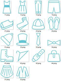 مجموعه پیکتوگرام های لباس (CLOTHING) (رایگان)