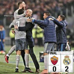 برد مادریدهای در ورزشگاه المپیاکو رم گل اول دقیقه 57کریس رونالدو گل دوم خسه 86