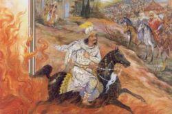 به پاسخ چنین گفت با شهریار,  که دوزخ مرا زین سخن گشت خوار,   اگر کوه آتش بود، بسپرم,  ازین ننگ خواریست گر نگذرم..!  ز آتش برون آمد آزاد مرد,  لبان پر زخنده، و رخ همچو ورد..!  چنان آمد اسب و قبای سوار،  که گفتی سمن داشت اندر کنار.  چو بخشایش پاک یزدان بود،  دم آتش و باد یکسان بود...!