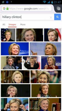 این است هیلاری، از پشت رسانه ای بنام گوگل، خندان!