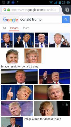 این است دونالد ترامپ. مگر گوگل دیوانه باشد که رئیس جمهور احتمالی امریکا را بدون هرگونه هماهنگی قبلی زشت جلوه دهد! نکند از صهیونییتها دستوردارد دشمن ایران را کریه جلوه دهد که او رای نیاورد؟ نه. ما تماشاچیان تئاتری هستیم که در آن صهیونیزم میخواهد ما از آمدن هیلاری ممنون باشیم. بازی اعتدال است. همین.