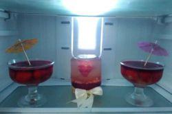 ژله رمانتیک و توت فرنگی ًیخچال عروس