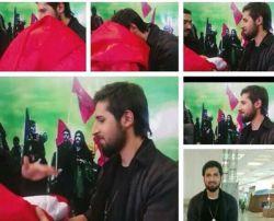 اهدایی پرچم امام حسین به حامد زمانی در نمایشگاه قرآن