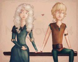 یک عکس باحال از دختر مریدا و جک و پسر هیکاپ و السا)مثل این که عاشق هم شدن (
