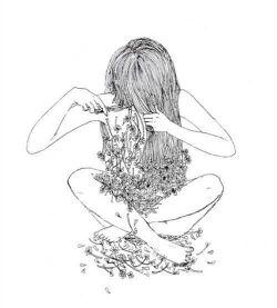 هر زنے ..  لابـہ لاے موهایش  مردے را پنهان ڪردہ است  هر وقت یڪ زن را  قیچے بـہ دست دیدے  بدان عزادار مردیست  ڪـہ موهایش را شانـہ میزد ...