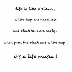 زندگی مثل پیانوست کلید های سفید خوشحالی و سیاه ها ناراحتی این آهنگ زندگیست