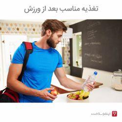 در زمان ورزش بدن از ذخایر گلیکوژن به عنوان سوخت استفاده میکند. این روند باعث میشود عضلات تا حدی از گلیکوژن خالی شوند. مقداری پروتئین نیز در عضلات تجزیه شده و آسیب میبینند.  بعد از ورزش بدن سعی میکند گلیکوژن از دست رفته را بازگرداند و آن دسته از پروتئینهای شکسته و آسیب دیده را احیا کند.  خوردن مواد غذایی مناسب بعد از ورزش به بدن در انجام این کار کمک میکند. خوردن کربوهیدرات و پروتئین بعد از ورزش بسیار اهمیت دارد.