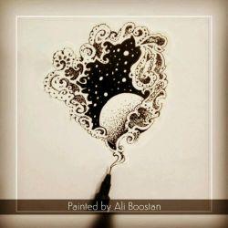 #طرح #جدید:)) و همچنین #تکنیک جدید:)) #هنر #زنتنگل #زیبا #ماه #اسمان #aliboostan #zentangle #art