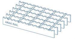 نمونه ای از یک گریتینگ که توسط شرکت اراک ریل طراحی و ساخته میشود. شرکت اراک ریل سازنده انواع گریتینگ.