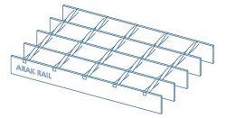 نمونه ای از یک گریتینگ تسمه در میلگرد که به روش مضرس توسط شرکت اراک ریل ساخته و تولید شده است.