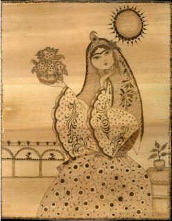 تابلوی نقاشی چوبسوز طرح خاتون ( کد 102 )
