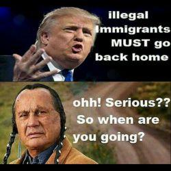 ترامپ: غیرقانونی باید به کشورشون برگردند. /بومیان امریکایی:خیلی خب! خودت کی میری؟ #انگلیسی #سیاسی #ترامپ  #english #English