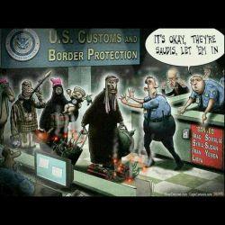 اداره گمرک و حراست مرزی امریکا:(خطاب به کسی که مانع ورود تازه واردها می شه با اشاره به قانون منع هفت کشور فراق.سوریه. ایران. لیبی. سومالی. سودان و یمن) چیزی نیست،اونا عربستانی اند بذار بیان توو(داخل) #انگلیسی #ترامپ #تروریست #سیاسی  #english #English