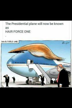 """هواپیمای ریاست جمهوری رو الان (دیگه بجای نیروی هوایی)به عنوان """"نیروی گیسویی"""" می شناسند.(ظاهرا ترامپ روی موهاش خیلی حساسه واسه همین زیاد تیکه به موهاش می اندازن). #انگلیسی #سیاسی  #english #English"""
