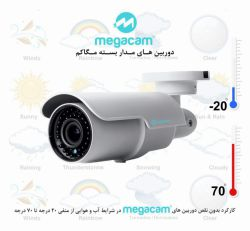 کارکرد بدون نقص دوربین های مداربسته مگاکم در شرایط اب و هوایی از منفی 20 درجه تا 70 درجه
