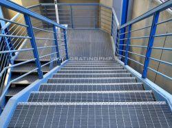 کف پله فلزی گریتینگ با پوشش گالوانیزه گرم