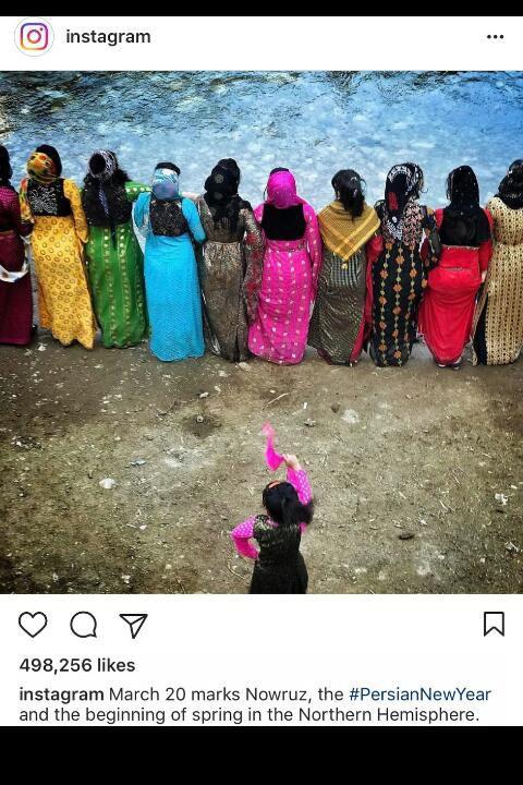 """صفحه رسمی اینستا گرام با گذاشتن عکس """"رقص کردی""""نوروز رو تبریک گفت... #بژی کورد"""