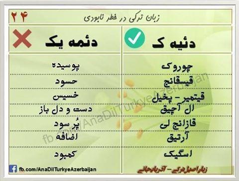 واژه های صحیح در ترکی