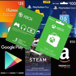 گیفت کارتهای آمازون، گوگل پلی، آیتونز، استیم، ایکس باکس و پلی استیشن در فروشگاه اینترنتی ساتیجی قرار گرفت  http://satici.ir/product-category/electronics/gift-cards/