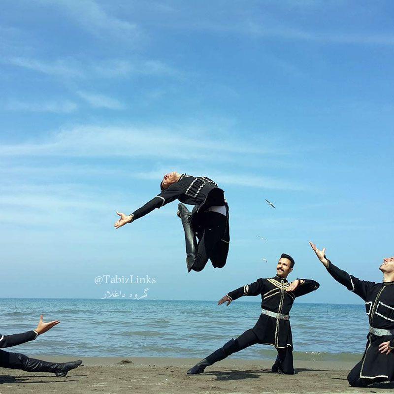 رقص آذربایجانی در ساحل دریای خزر