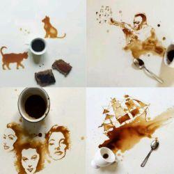 نقاشی بسیار زیبا با قهوه هنرمند کسیه که از کمترین امکانات هم برای نشون دادن زیبایی استفاده کنه .