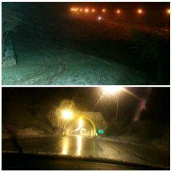 شروع بارش برف در منطقه گردنه حیران، اردبیل
