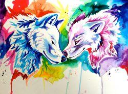 نقاشى گرگ رنگین كمانى ..... rainbow wolf art