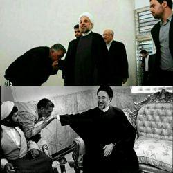 بوسیدن دست #خاتمی و #روحانی جایز است و نماد روشنفکری .بوسیدن دست #آیت_الله_علم_الهدی شرک است و نماد چاپلوسی .