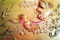 """farasaze تابلوی سفال نقش برجسته زیبا با تداعی حس حرکت در پرواز پرنده ها  نام طرح: """"دیدار"""""""