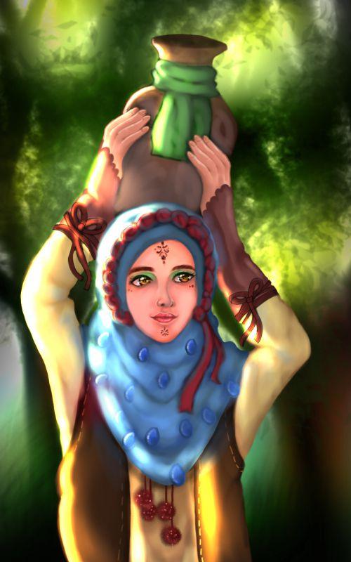 دختر روستایی،نقاشی دیجیتالی.تقدیم به هموطنان روستایی عزیزم