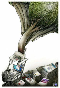 مصرف زیادِ اینترنت، باعث حدر رفت انرژی میشود و استفاده زیاد از چاپگر، به قطع درختان ختم می شود...