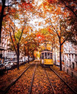 خط تراموای شهر میلان! چی میشه که پاییز یه جاهایی اینطوری با روح آدم بازی میکنه؟