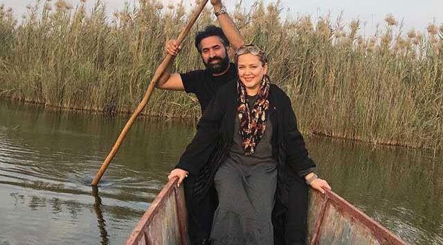 قایق سواری بهاره رهنما و همسرش