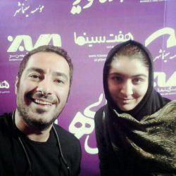 من و آقای عشق نویدمحمدزاده عزیز در سینما هویزه مشهد اکران مردمی فیلم بسیار زیبای خفگی