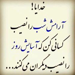 خدایا آرامش شب را نصیب کسانی کن که آسایش روز را نصیب دیگران میکند . آمین #خدا #ایران #مردم