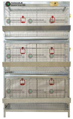 قفس 3 طبقه مرغ تخم گذار/ جنس: تمام گالوانیزه ضد زنگ / ظرفیت: (30) / طول: 100 cm / عرض: 62 cm / ارتفاع:  cm175