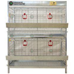 قفس2 طبقه مرغ تخم گذار/ جنس: تمام گالوانیزه ضد زنگ / ظرفیت: (16) / طول: 100 cm / عرض: 62 cm / ارتفاع:  130 cm