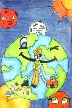 کار با مداد رنگی موضوع نقاشی  زمین پاک
