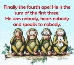 میمون چهارمى هم پیدا شد به جمع اون سه تاى اولیه، نه كسى رو میبینه، نه حرف كسى رو میشنوه نه با كسى حرف میزنه ! حكایت این روزهای ماهاست دقیقا...   https://www.bazarazerbaijaan.com/ http://paydarpisheh.com