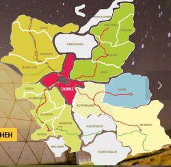 نقشه استان آذربایجان شرقی East Azerbaijan province , Iran