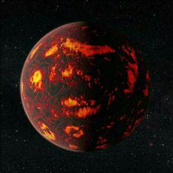 """جهنم واقعی در صور سرطان این سیاره یعنی """"Cancri55"""" به اندازه ایی گرم است كه به آن لقب جهنم فضا را داده اند.  جاری بودن رودخانه هایی از سیانید هیدروژن آنرابه مكانی وحشتناك تبدیل كرده است"""
